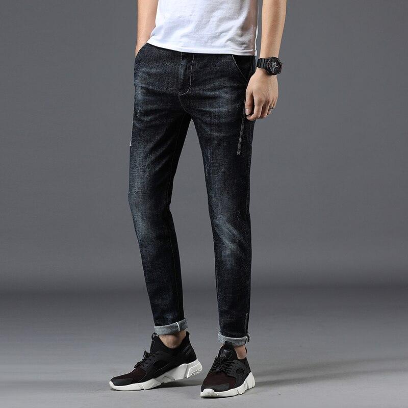 Mens   Jeans     Jean   Biker Skinny Pantalon Homme Masculina Mens Casual Straight New Masculino Elastic Waist Denim Pants Man