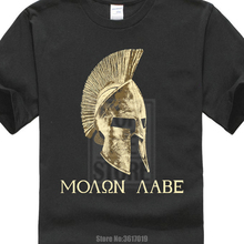 2017 klassieke Black Molon Labe Spartan Helm Warrior Gedrukt Men'S T-shirt Cool Tops Hipster Stijl T-shirt