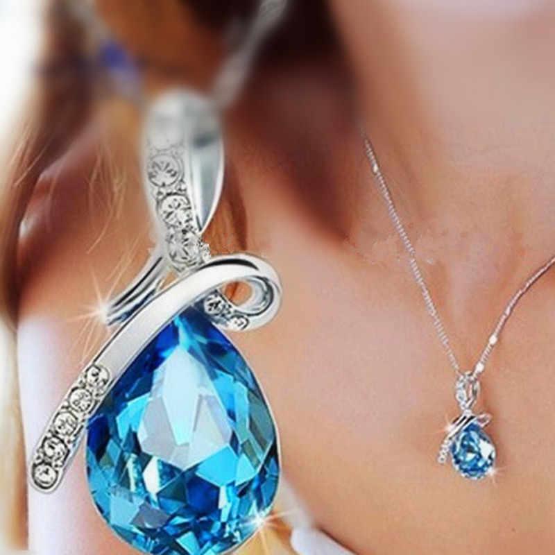 תכשיטים 2 צבעים ארוך קריסטל לב תליון שרשרת שרשרת לנשים אהבת שרשראות & תליוני Collares x 331
