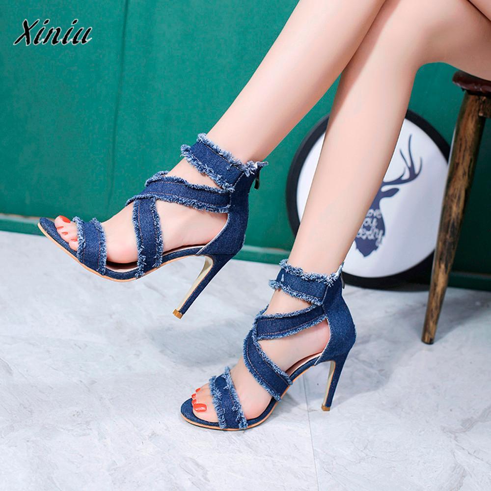 xiniu #A0212 zapatos de mujer Women Fashion Solid Denim Fine Heel Pointed Toe Zipper chaussures femme High Heeled Shoes