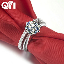 QYI 925 Solid Silver Jewelry 2 ct Round cut Simulated diamond Trendy Engagement Wedding Rings Set Gift Women