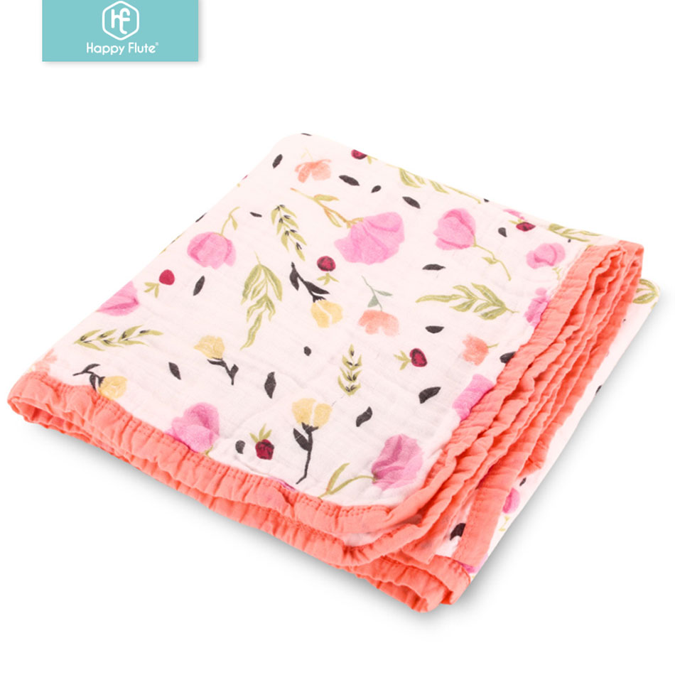 Happyflute 1pc Muslin 100% Cotton 4Layers With Colorful Tipping Newborn SwaddleS Soft Baby Gauze Infant Blankets Wrap Sleepsack