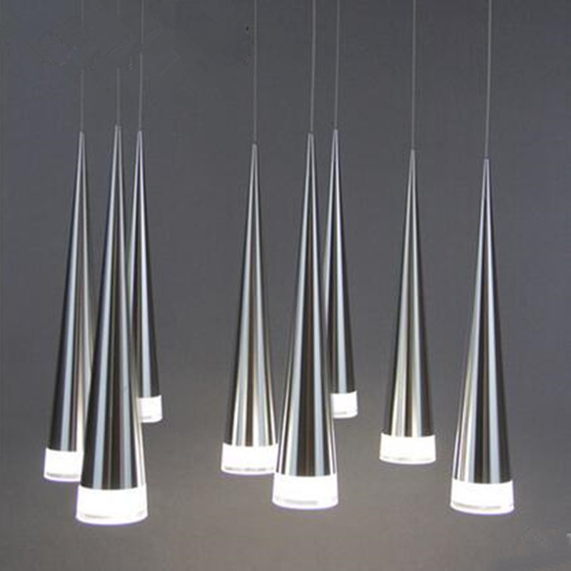 Modern Acrylic Led Conical Pendant Lights Aluminum Metal Industrial House Lighting Hang Lampen Dining Living Room