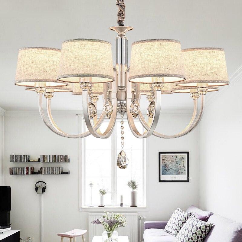 ФОТО Chandelier Lighting Linen Fabric Modern Chandelier Light Crystal Chandelier Living Room Lamp Luxury Life