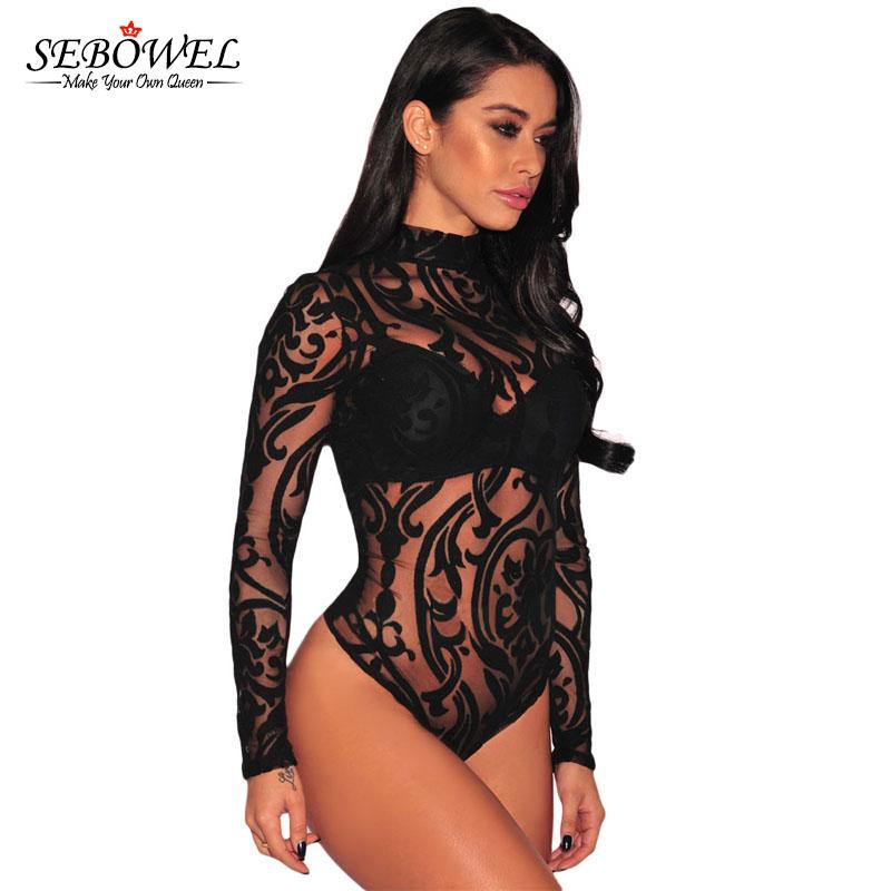 SEBOWEL Sexy Black Print Sheer Mesh Bodysuit Women Long Sleeves ... ee53ebe7d