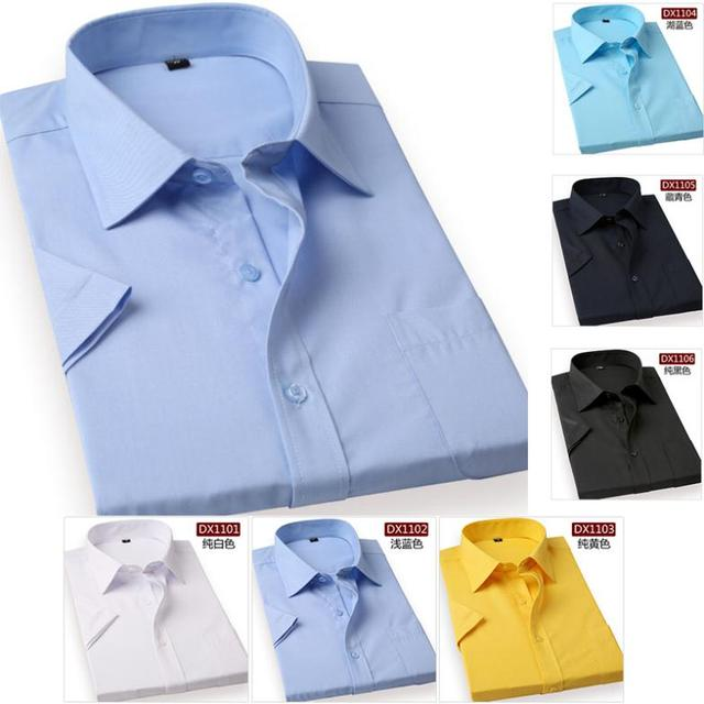 Free shipping Men's short sleeve shirts Summer Solid formal dress shirt for man Business men 6 colors