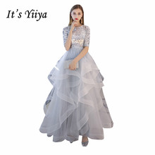 Its YiiYa Evening Dress Silver Bling Sequins Tiered Hem evening Gown O-neck Short Sleeve Long Formal Dresses More Colors LX1398