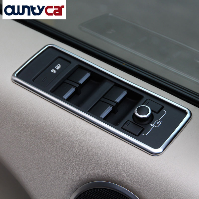 4pcs matt silver Window Lift Button Panel Trim For Land Rover Range Rover Sport RR Sport Auto Car Accessories 2014+