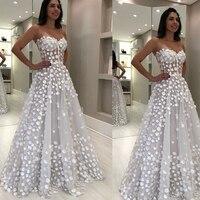 white prom dresses 2020 sweetheart neckline flowers 3d flowers a line evening dresses vestidos de fiesta vestidos de gala