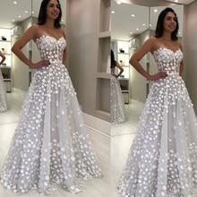 white prom dresses 2020 sweetheart neckline flowers 3d flowe