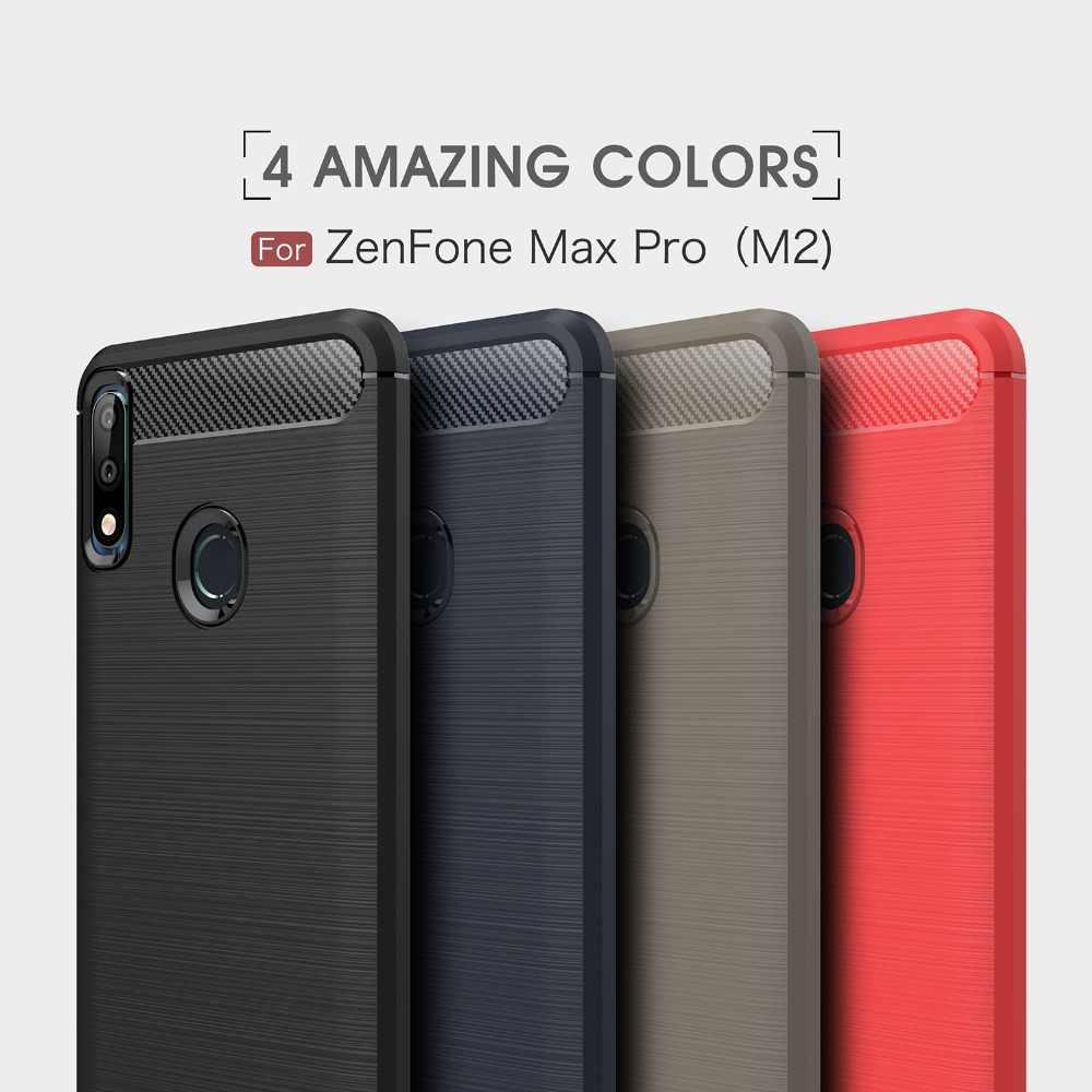 Углеродного волокна ТПУ Мягкий защитный силиконовый чехол для Coque ASUS Zenfone Max pro M2