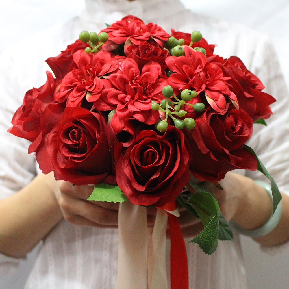 red flowers for wedding artificial wedding bouquet 7002