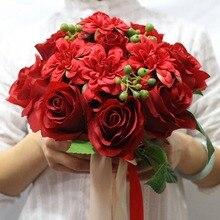 Artificial Red Rose Wedding Bouquet