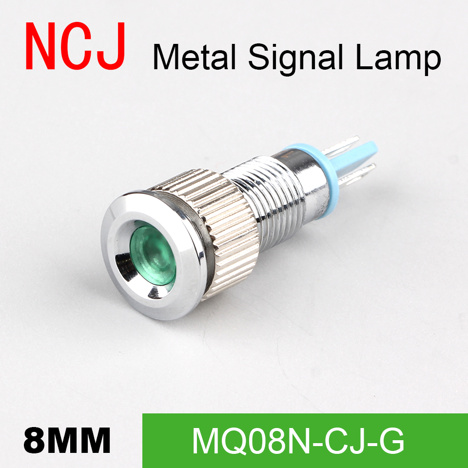 NCJ 8mm LED Signal lamp Indicator Metal signal lamp Warning light pilot light boat light dashboard car 3V 6V 12V 24V 110V 220V