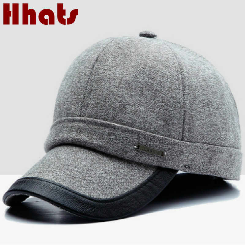 1ee631fcb2901 Winter Baseball Cap Earflaps For Men High Quality Retro Wool Snapback Hat  Cap Adjustable Thickened Warm