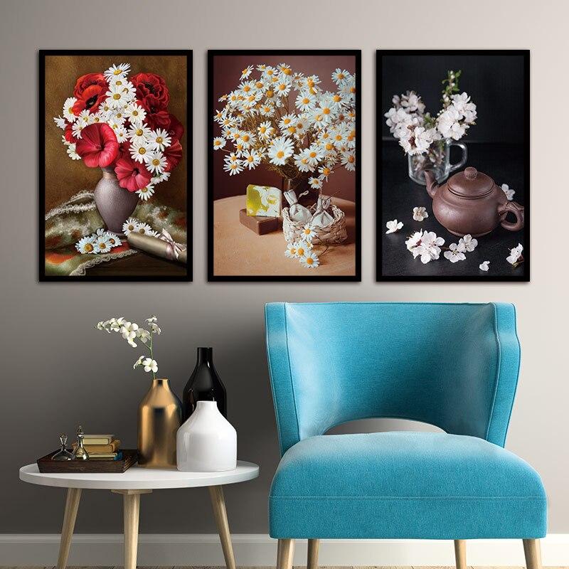 Nástěnné malby Daisy Flower Canvas Painting Domů Dekorace Obrazy Nástěnné obrazy pro obývací pokoj Modulární obrázky Bez rámečku