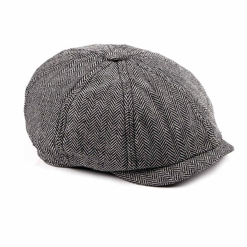 Новинка 2019, кепка Newsboy, берет, шапка для мужчин и женщин, твид, Гэтсби, восьмиугольная, черная, белая, в елочку, винтажные шапки плюща