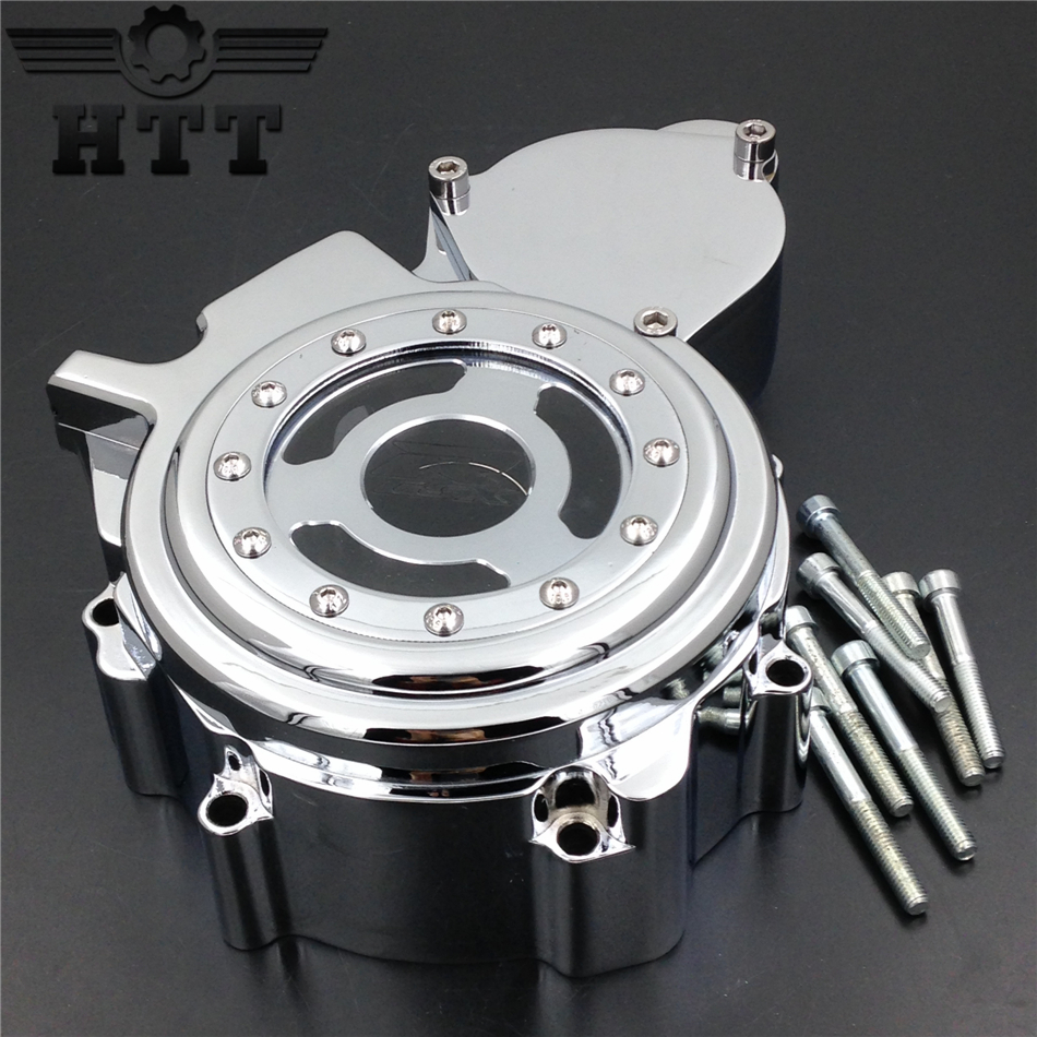 Aftermarket free shipping motorcycle parts Engine Stator cover see through for Suzuki  GSXR 600 750 2006-2013 CHROME left aftermarket free shipping motor parts for motorcycle 1989 2007 suzuki katana 600 750 billet oil brake fluid reservoir cap chrome