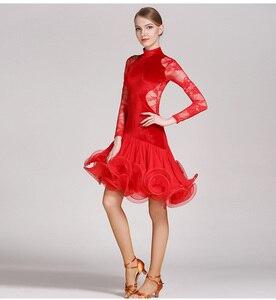 Image 5 - Rot spitze latin dance kleid fringe frauen latin kleid tanzen kleidung Dancewear latina salsa kleider für tanzen samba tango