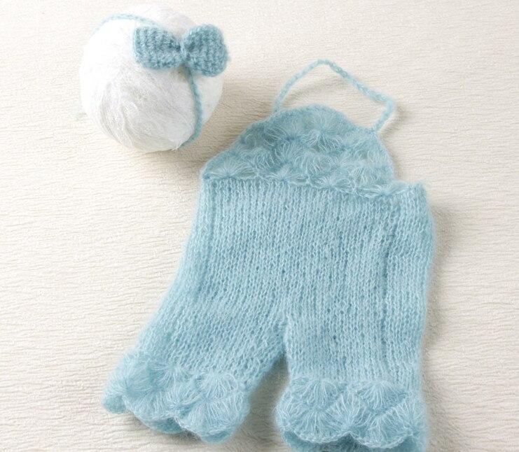 Mohair pantallona bebe dhe shirita kravatë të pasme të vendosura Fotografi e porsalindur vajzë dhe vajzë foshnje stil veror