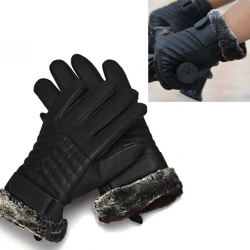Youngate Mens PU Leather Touchscreen Gloves Driving Gloves Winter Warm Gloves