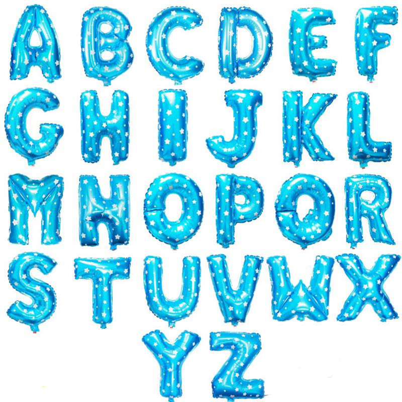 16 Inch Blue Alphabet Letters Foil Balloon Happy Birthday Balloons Letter Birthd