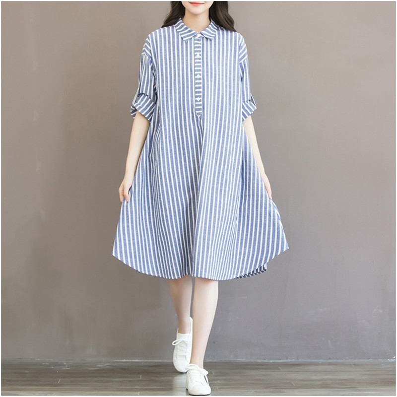 Maternity Clothes T-shirt Dress For Pregnant Women Dress Long Sleeve Striped Nursing Dress For Pregnancy Breastfeeding Outfits stylish long sleeves striped shirt dress for women