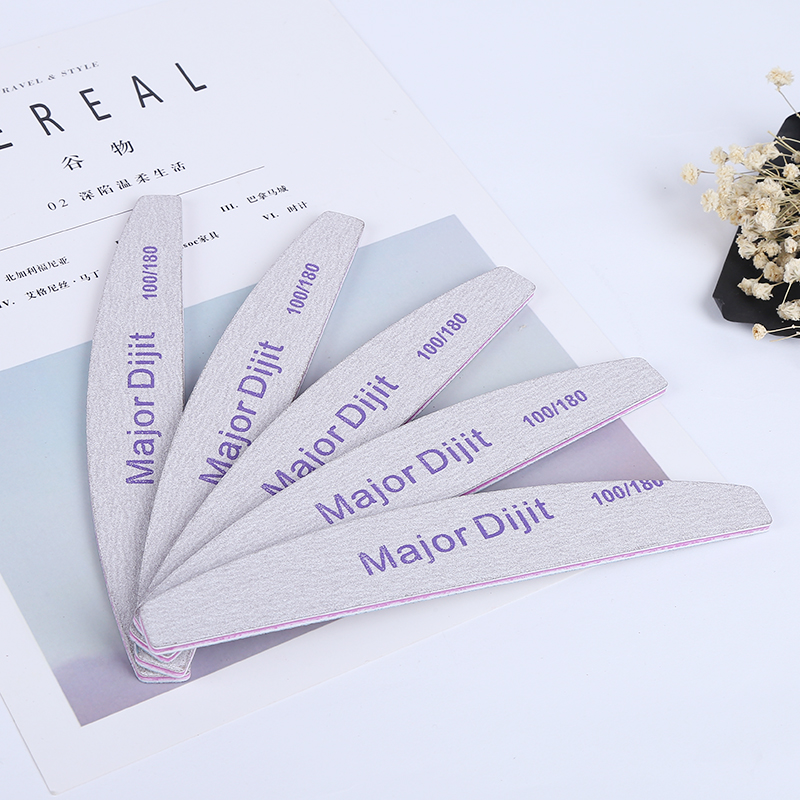 5pcs/lot Professional Nail File Double Side Half Moon Design Nail Buffing Block Sanding Manicure Pedicure Tool
