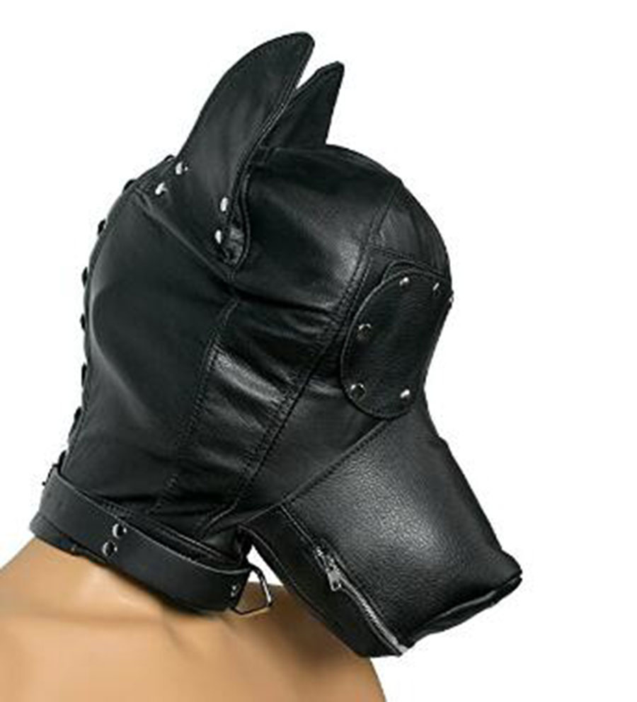 Pup Puppy Play,Leather Head Hood, BDSM Full Face Mask With Removable Muzzle Blindfold,Corset Novelty Costume Dog Head Masks