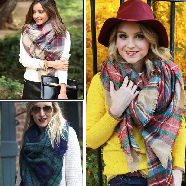 2016 Fashion Plaid Square Scarves Women Autum Winter Tassel Plaid Scarf Large font b Tartan b