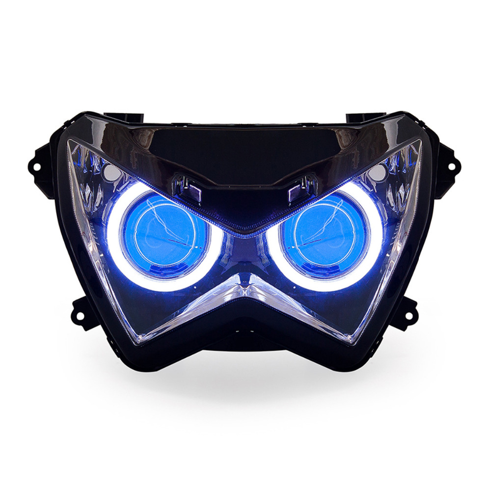 KT Headlight for Kawasaki Z300 2015 2016 LED Angel Eye Blue Demon Eye Motorcycle HID Projector
