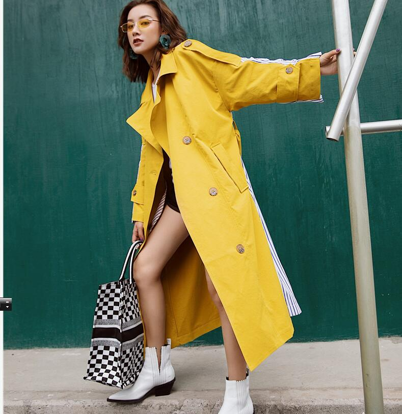 New collections Spring Autumn Fashion Oversized buttons design   Trench   coats Strrip Print patchwork female ourerwear am007