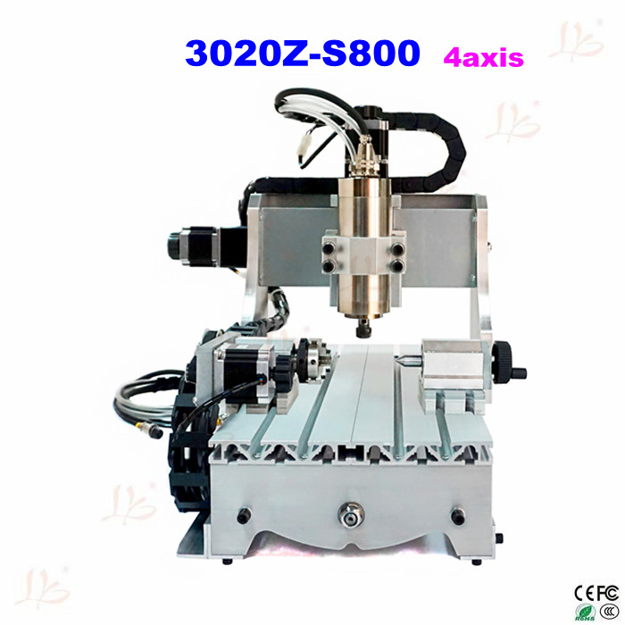 4axis cnc 3020Z-S800 cnc router with 800W water cooling cnc spindle cnc engrave machine free shipping to Russia include tax