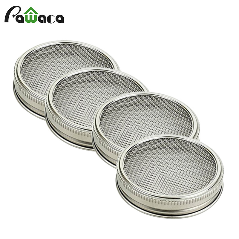 4pcs/set Stainless Steel Sprouting Lid for Wide Mouth Mason Jars Canning Jars Speed Strainer Lid Net Cover Seed Sprouting Screen