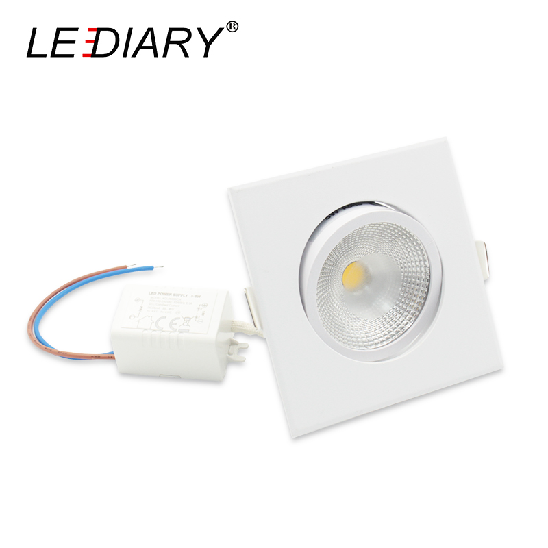 LEDIARY 10Pcs Lot COB LED White Square Downlights 100V 220V 5W 75MM Cut Hole Ceiling Spot