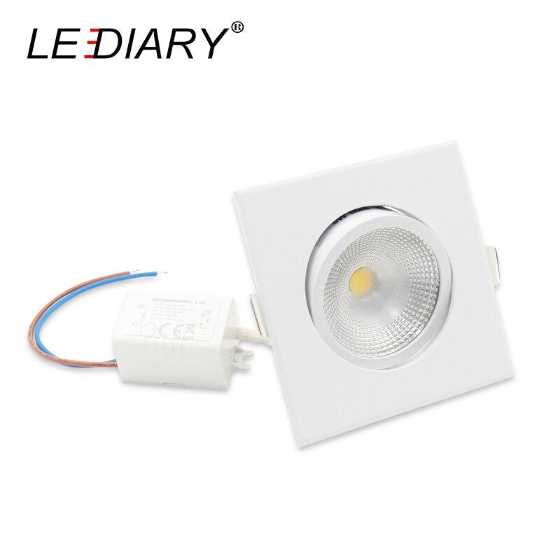 LEDIARY 10 sztuk/partia COB LED biały kwadrat Downlights 100 V-220 V 5W 75MM Cut Hole sufitowa lampa punktowa sypialnia oświetlenie kuchenne oprawy