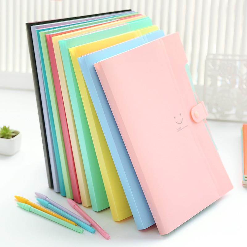 10 Color Carpetas Waterproof Office Plastic Folders Multi Pocket Organizer A4 File Expansion Document Folder Binder