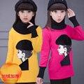 Child clothing девочка толстовка толстовки мультфильм красоты утолщение ребенка плюс бархат основной рубашка зима топ