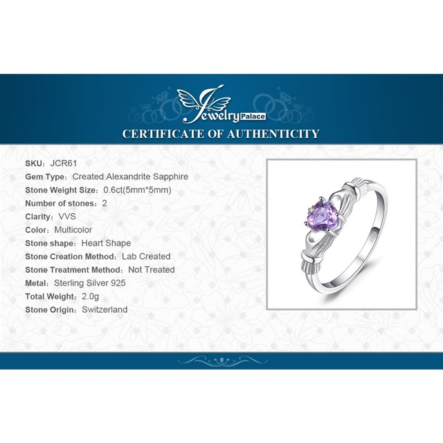 JewelryPalace Alexandrite Sapphire Irish Claddagh Ring Solid 925 Sterling Silver Fine Friendship Love Heart Jewelry Nice Gift