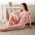 En 2016 el nuevo pijama de fibra de bambú femenina sra. verano pantalones de manga corta traje de Muebles Para El Hogar de la fibra de bambú