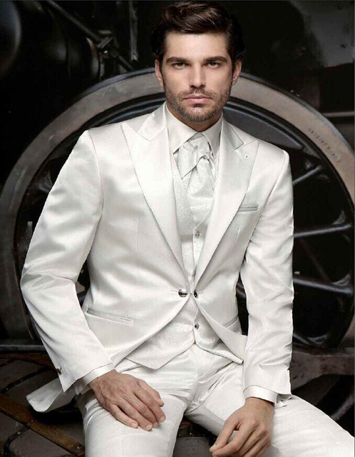 2018 gentleman style Mens Suits White Wedding Suits For Men Peaked ...