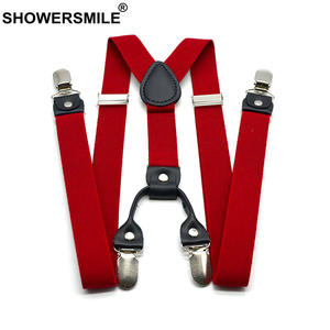 Suspenders Men Strap Trouser Pants Braces SHOWERSMILE Elastic 4-Clips Casual 120cm Red