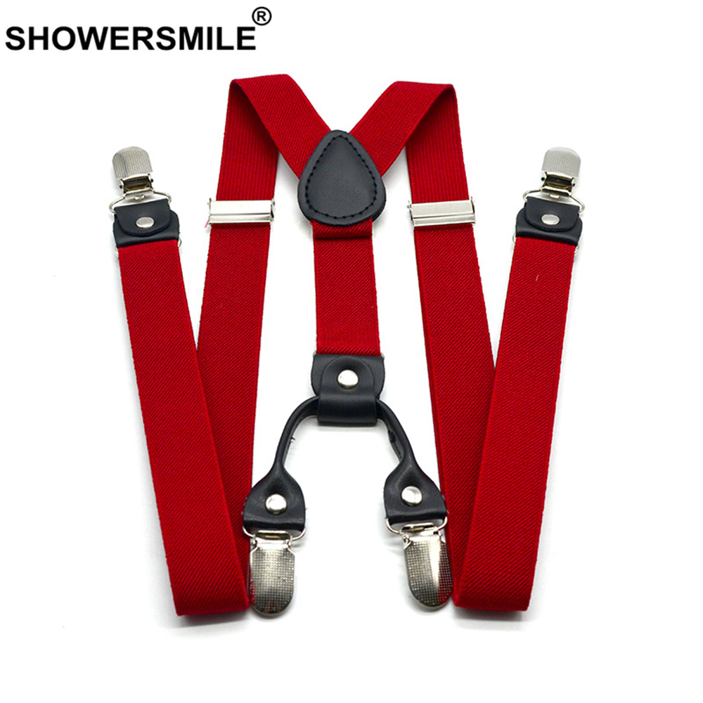 SHOWERSMILE Red Suspenders Men Classic Pants Strap Y Back 120cm Casual Retro Trouser Braces 4 Clips Elastic Male Suspender Belt