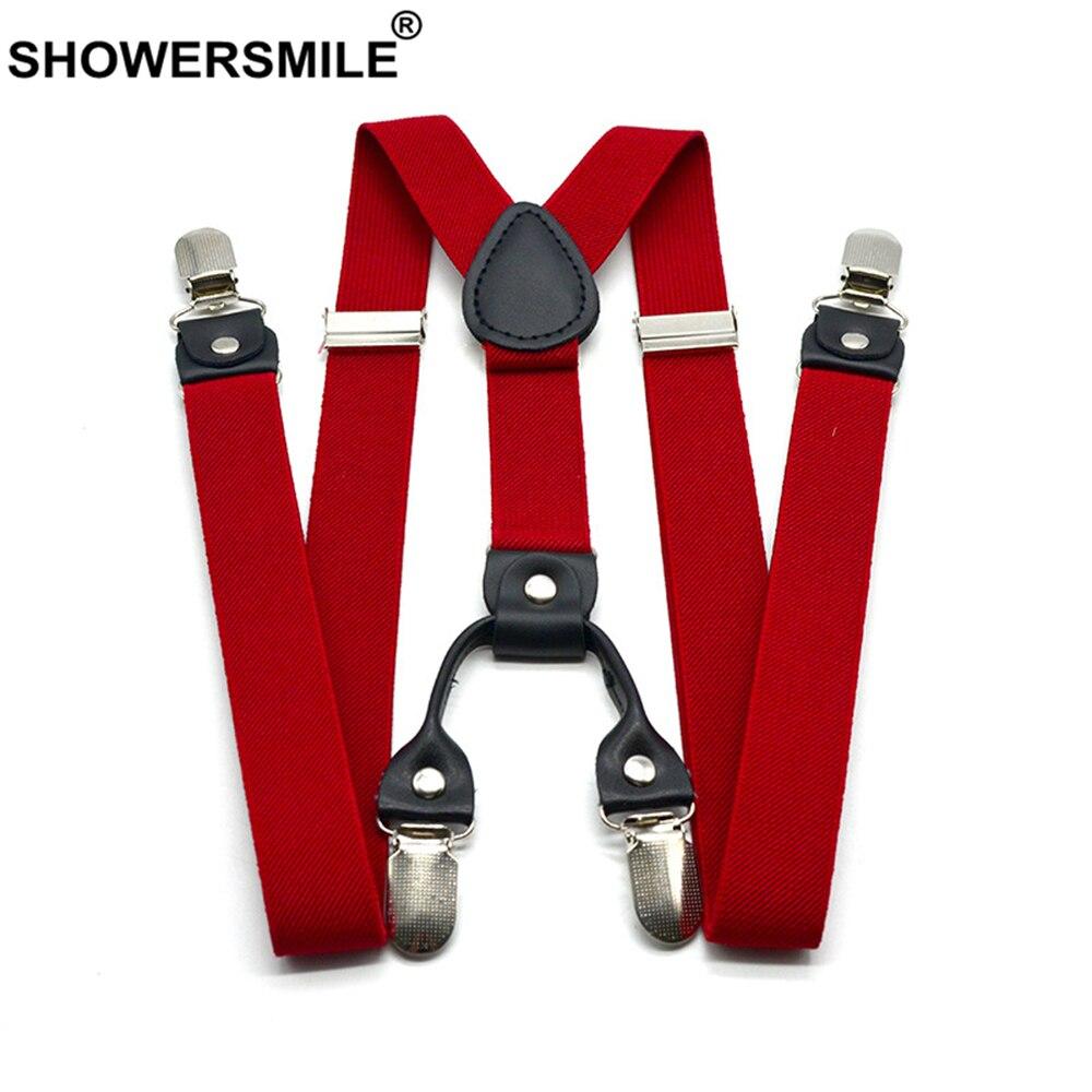 SHOWERSMILE Red Suspenders Men Classic Pants Strap Y Back 120cm Casual Retro Trouser Braces 4 Clips Elastic Male Suspender Belt