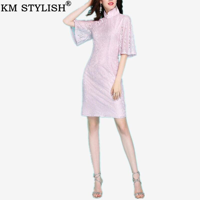 Début du printemps nouveau Vintage élégant femmes rose doux dentelle Slim Flare demi manches dame Cheongsam Style chinois gaine robe