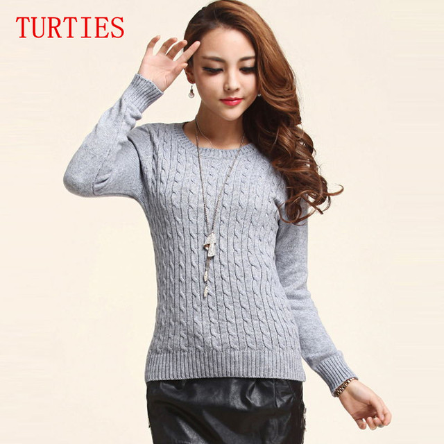 2016 New winter lady twist round neck Cashmere Sweater thick hedging bottoming Female Sweater knitted Sweaters Slim pullover