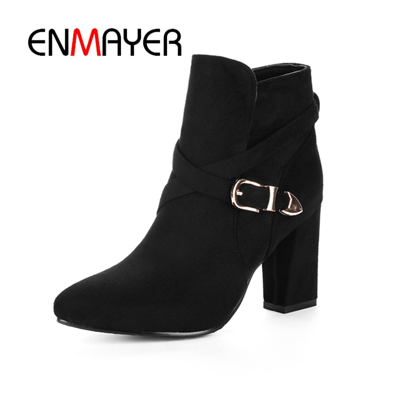 ENMAYER Women Ankle boots Ladies High heels Fashion boots Pointed toe Shoes women Causal Shoes Suede Thick heel Size 34-43 CR410