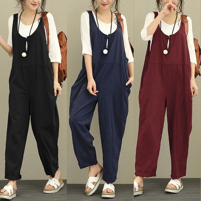 34a4b51e599 Celmia Women Jumpsuits 2018 Autumn Spring O Neck Sleeveless Cotton Linen  Rompers Casual Loose Playsuits Trousers