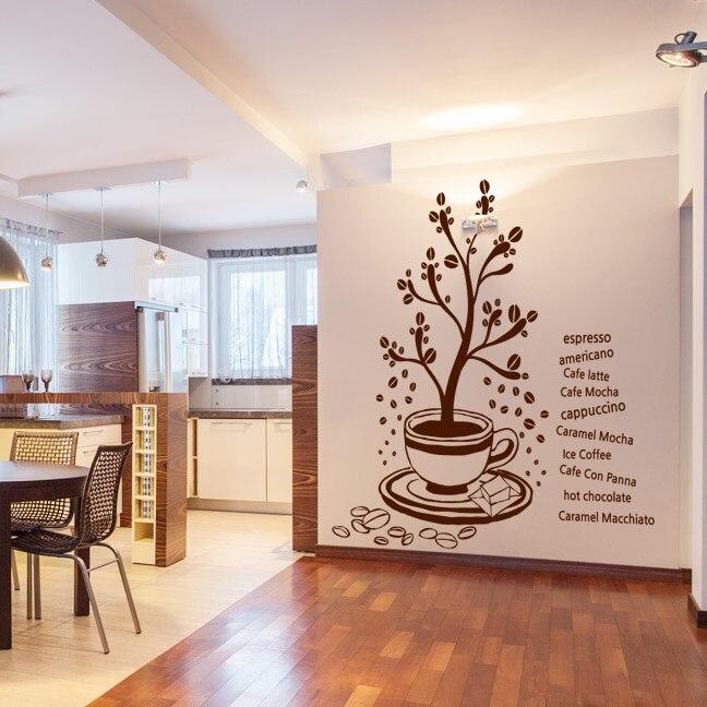 Grand arbre café vinyle mur décalcomanie café magasin autocollant café arbre Mural Art Mural autocollant café magasin fenêtre décoration