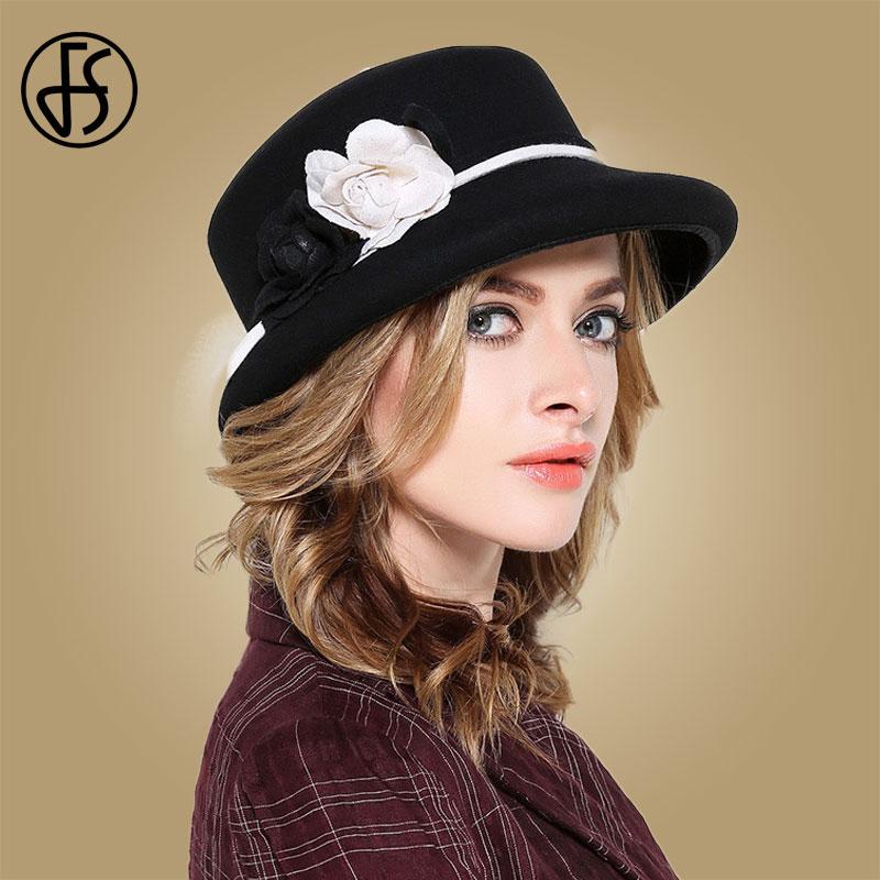 Image 3 - FS Womens Fedora Hats White Wide Elegant Brim Felt Cloche Hat Black Vintage Bowler Fedora Female Floppy Flower Lady Girls Autumn-in Women's Fedoras from Apparel Accessories